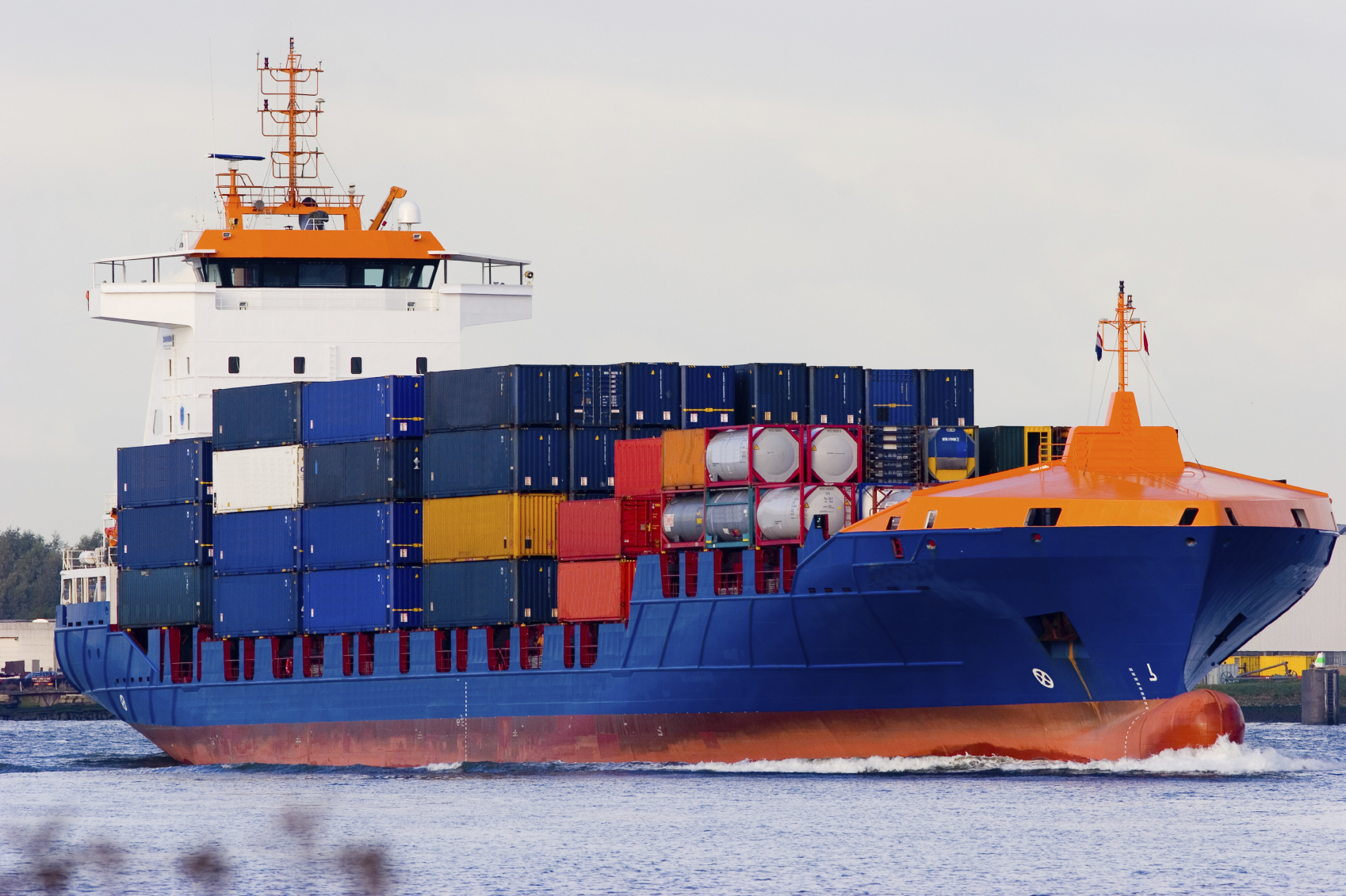 Orange and blue containership 3